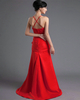Over Hip Spaghetti Straps Sweep Stretch Satin Flower Prom Dresses