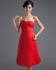 A-line Sweetheart Knee-length Stretch Satin Bowknot Prom Dresses