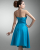 A-line Strapless Knee-length Stretch Satin Side-draped Cocktail Dresses