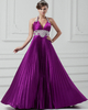 A-line Halter Brush Train Stretch Satin Beading Sequin Prom Dresses
