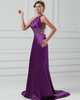 A-line One Shoulder Brush Train Stretch Satin Beading Prom Dresses