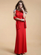Column Bateau Floor-length Stretch Satin Crystal Prom Dresses