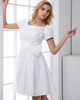 A-line Bateau Taffeta Short Sleeve Side-draped Homecoming Dresses