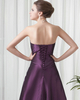 A-line Strapless Floor-length Taffeta Flower Beading Evening Dresses