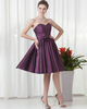 A-line Sweetheart Strapless Knee-length Taffeta Flower Cocktail Dresses With Crystal