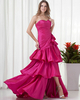 Over Hip Strapless Floor-length Taffeta Side-draped Beading Prom Dresses With Split Front