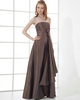 A-line Strapless Floor-length Taffeta Bowknot Tiered Evening Dresses