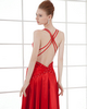 A-line Spaghetti Straps Ankle-length Taffeta Backless Beading Prom Dresses