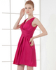 A-line V-neck Straps Knee-length Taffeta Draped Cocktail Dresses