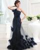 Astounding A-line Tulle One shoulder Feathers Prom Dresses