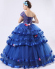 Ball Gown Asymmetrical Collar Floor-length Tulle Crystal Quinceanera Dresses With Ribbon On Skirt