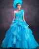 Ball Gown One Shoulder Floor-length Tulle Ruffle Flowers Prom Dresses