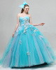 Ball Gown Sweetheart Floor-length Tulle Appliques Prom Dresses