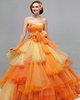 Ball Gown Tube Top Floor-length Tulle Beading Ruffle Prom Dresses