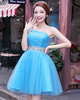A-line One Shoulder Mini Tulle Sequin Homecoming Dresses