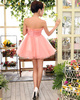A-line Strapless Short Tulle Flower Homecoming Dresses
