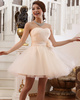 A-line Strapless Short Tulle Lace Flower Homecoming Dresses