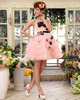 Princess Tube Top Short Tulle Flower Ruffle Homecoming Dresses