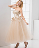 A-line Scalloped-edge Ankle-length Tulle Flower Beading Prom Dresses