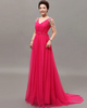 A-line V-neck Sweep Tulle Crystal Jewelry Sleeve Prom Dresses
