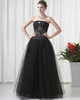 A-line Strapless Floor-length Tulle Sequin Beading Evening Dresses