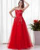 A-line Strapless Floor-length Tulle Crystal Embroidery Prom Dresses
