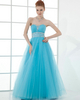 A-line Strapless Floor-length Tulle Sequin Crystal Prom Dresses