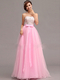 A-line Sweetheart Floor-length Tulle Crystal Bowknot Prom Dresses With Draped