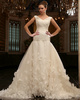 Perfect Over Hip Tulle V-neck Court Train Wedding Dresses