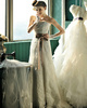 A-line Lace Tube Top Strapless Lace-up Sash Sequin Wedding Dresses