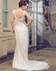 Graceful Column Chiffon V-neck Lace Wedding Dresses