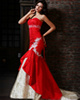 Mermaid Taffeta Sweetheart Court Train Red and White Lace Wedding Dresses with Rhinestones