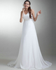 Girls In Very Short Dresses Pantyless A-line Straps Brush Train Chiffon Beading Wedding Dresses