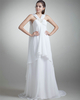 Girls In Very Short Dresses Pantyless A-line Straps Brush Train Chiffon Beading Crystal Wedding Dresses