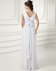 Column V-neck Floor-length Chiffon Flower Sashes Wedding Dresses