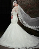 Excellent Mermaid Lace Strapless Court Train Wedding Dresses With 3/4 Length Sleeve Jacket