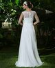 Ruched Baggy Column Chiffon Bateau Floor-length Wedding Dresses with Rhinestones and Crystals