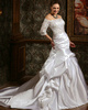Voluminous Over Hip Taffeta Court Train Wedding Dresses With Half Sleeve Off The Shoulder Lace Jacket Size 2 And Size 4