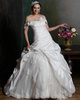 Royal Voluminous Ball Gown Taffeta Off The Shoulder with Flowers Court Train Pick-Ups Wedding Dresses