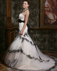 Mermaid Tulle Strapless Court Train White and Black Lace Sash Wedding Dresses