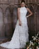 Soft A-line Chiffon Round Brought High Neck Cascading Ruffles Sweep Train Wedding Dresses