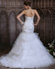 Slimming Mermaid Organza Sweetheart Cascading Ruffle Ruffles Sweep Train Wedding Dresses with Beading and Sequin Size 2 And Size 4