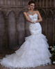 Slimming Mermaid Organza Sweetheart Cascading Ruffle Ruffles Sweep Train Wedding Dresses with Beading and Sequin