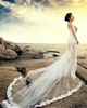 Mermaid Tube Top Strapless Semi Transparent Cathedral Train Lace Wedding Dresses