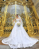 Royal A-line Strapless Cathedral Train Lace Sequin Wedding Dresses