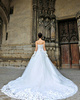 A-line Strapless Chapel Train Cut Flowers Lace Appliques Wedding Dresses