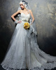 A-line Strapless Chapel Train Lace Sequin Wedding Dresses With Rhinestone Ribbon