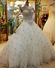 Ball Gown Crystals Straps Big Rhinestones Chapel Train Lace Beading Wedding Dresses