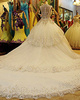 Ball Gown Straps Crystals And Rhinestones Bodice Cathedral Train Lace Wedding Dresses With Semi Transparent Jewelry Back