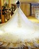 A-line V-neck Tiered Chapel Train Lace Semi Transparent Jewelry Back Wedding Dresses